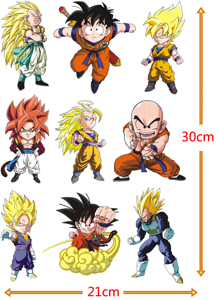 Free Shipping (8 pieces/lot) DragonBall Cartoon Characters Sticker A4 Size PVC Dragon Ball Z Goku Vegeta Super Saiyan Stickers rysunek kolorowy motyle