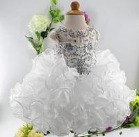 Imagen real blanco baby girl vestidos perlas cristales piedras cumpleaños del niño vestido de cualquier tamaño