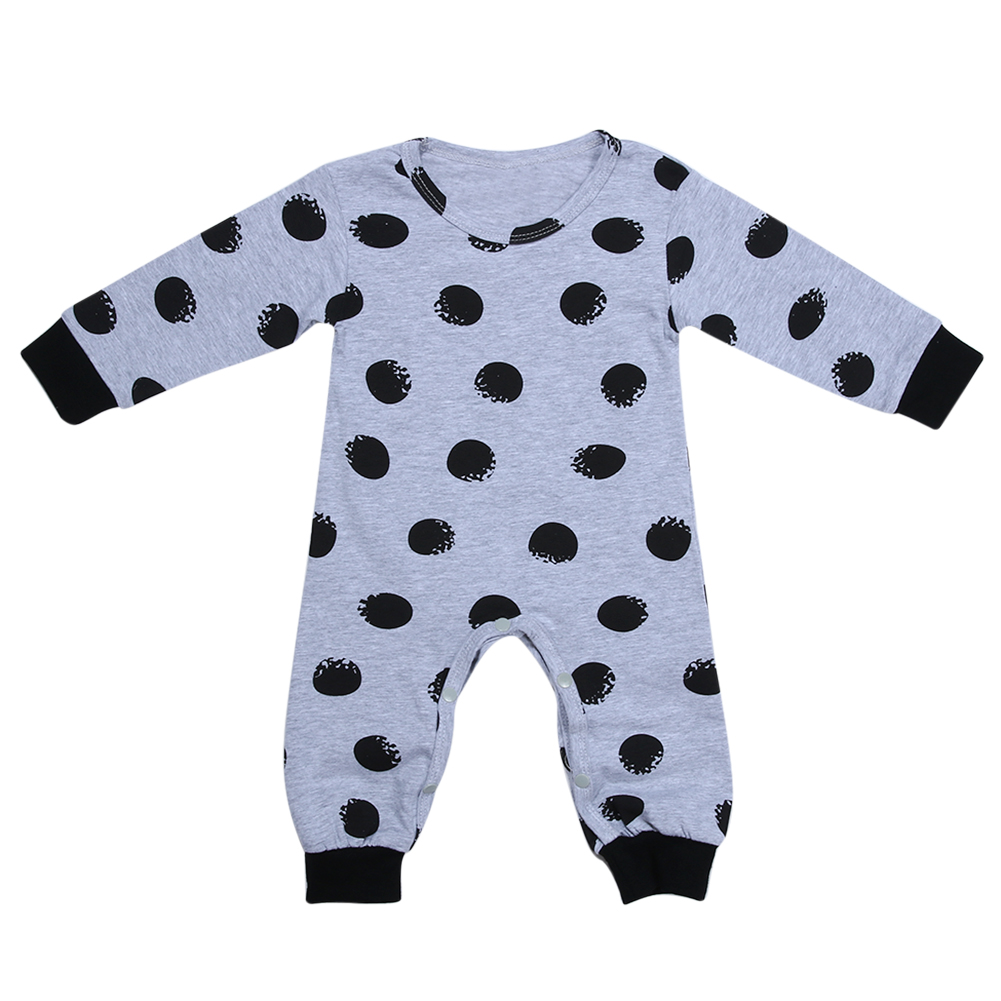 New Autumn Winter Baby Long Sleeve Romper Casual Black Polka Dot Printed One-piece Jumpsuit Clothes Boys Girls Romper Outfit