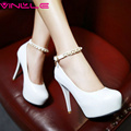 VINLLE 2017 Women Pumps Beading Ankle Strap Sexy High Heel Shoes Thin Heel Round Toe Shoes Pink Women's Wedding Shoes Size 34-43