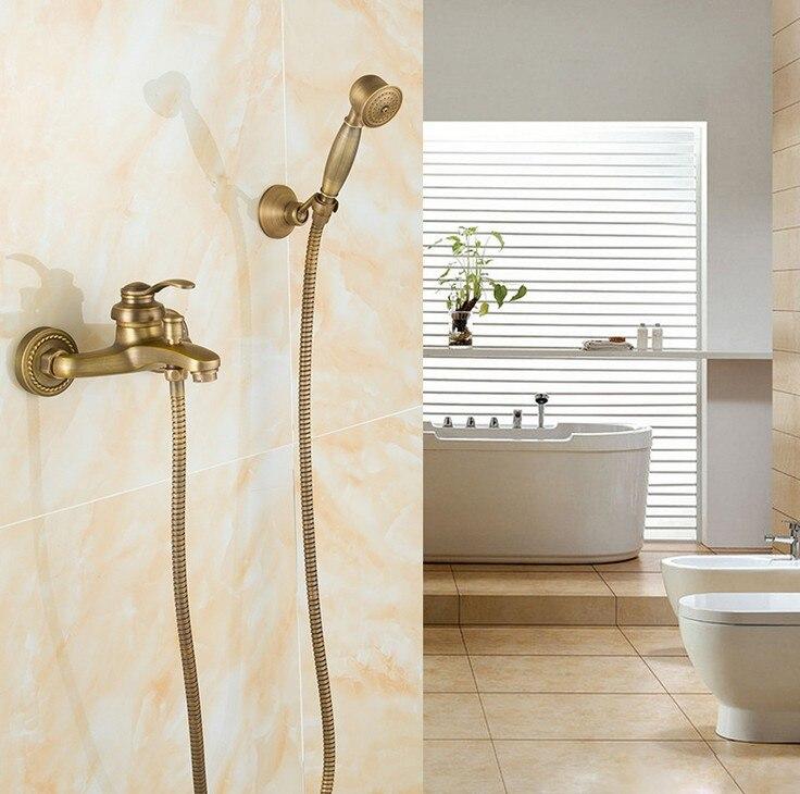 Vintage Antique Brass Design Bathroom Shower Faucet Set Single Handle Wall Mounted Shower Bathtub Mixer