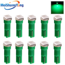 цена на 10pcs T5 1 SMD 5050 Green Wedge Signal LED Car Bulb Lamp 74 dash led car bulbs interior Lights Car Light Source parking 12V