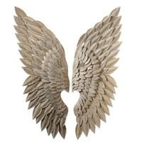 Abstract Angel Wing Wall Figurine Statue Retro Wall Hanging Decorations Art Sculpture Metal Craftwork Home Decorations R206