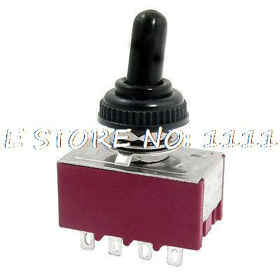 MTS-402 2A/250VAC 5A/125VAC ON/ON 4P2T 4PDT 12 Pins Toggle Switch + Rubber Cover image
