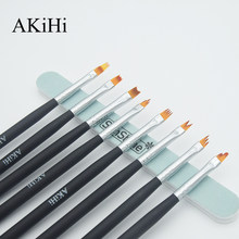 AKiHi Moon shaped Brushes with Cap UV Gel French Pen Gradient Polish Nail Flower Painting Drawing Arts Design(China)
