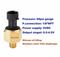 50psi Gauge Pressure 1 8 NPT Male Thread Oil Pressure Sensor Stainless Steel Diaphragm Oil Filling