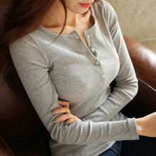 2016 New Spring Autumn Knitting T Shirt Women Tops Knitted  Long Sleeve Slim Fitted T-Shirt Casual Tee Shirts Blusas Female