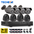 8CH DVR kit Systems 8pcs 1280*720P AHD 1080N DVR 1200tvl Camera outdoor indoor Night Vision IR Camera DIY CCTV system techege