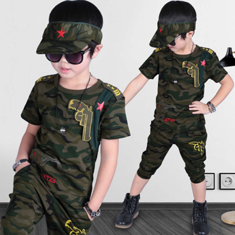 New Children Sets Boys Embroidered Standard Military Fans Color Clothing Two Piece T-Shirt+Pants Kids  Clothes Suit