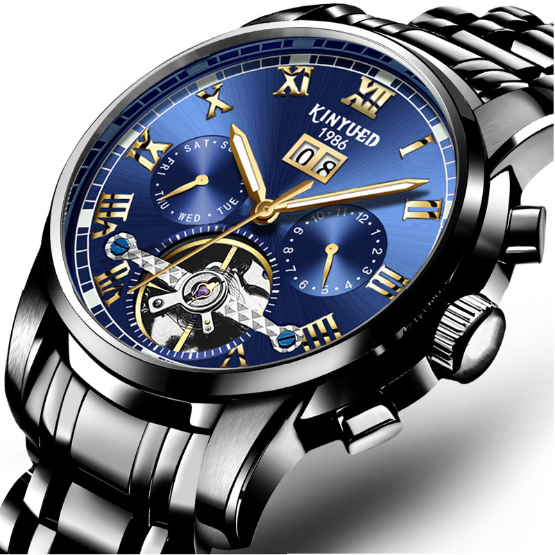 Kinyued Stainless Steel Mechanical Wrist Watches Skeleton Tourbillon Mechanical Watch Automatic Men Golden Edge Blue Dial