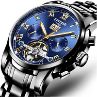 Kinyued Stainless Steel Mechanical Wrist Watches Skeleton Tourbillon Mechanical Watch Automatic Men Golden Edge Blue Dial J014G
