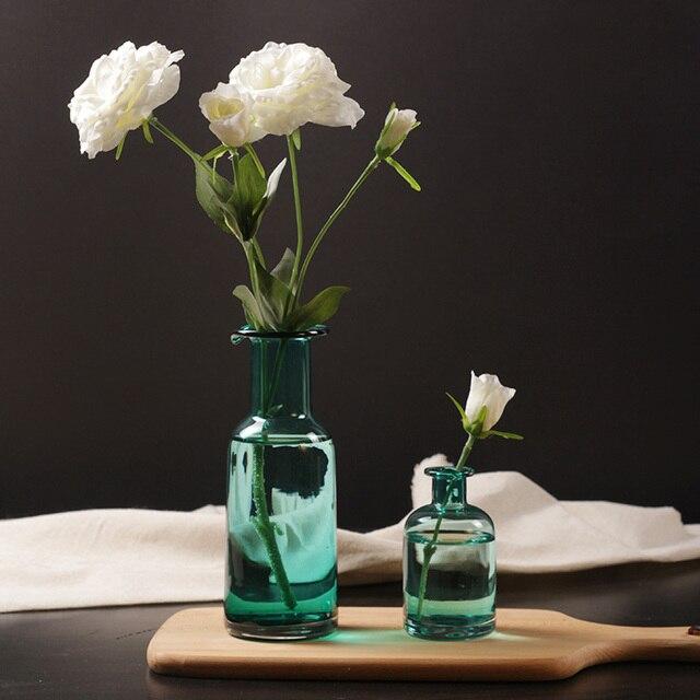 Home Decor Glass Vases Blue Flower Vase Christmas Decoration Modern