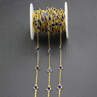 6mm,Dark Blue Glass Faceted Round Coin Beads Chain,Wire Wrapped Golden Plated Fashion DIY Chains for Necklace Jewelry