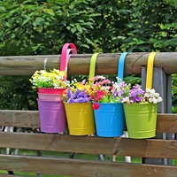4 PCs Home Office Garden Balcony Decorative Metal Iron Hanging Flower Plant Pot Vase Flower Holder