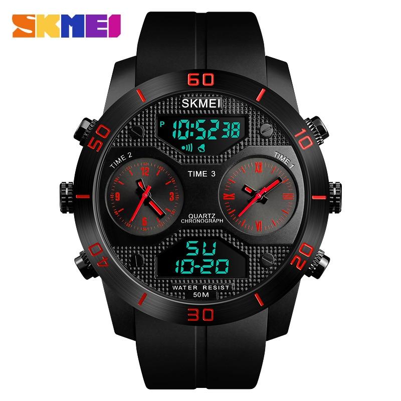 SKMEI Спорт на открытом воздухе Для мужчин часы 50 м Водонепроницаемый световой электронный Нержавеющаясталь двойной Дисплей часы Relogio Masculino