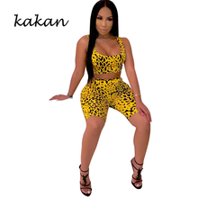 Kakan 2019 summer new womens body tights two-piece fashion print casual suit jumpsuit