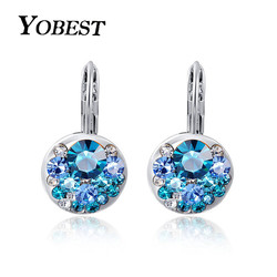 YOBEST 2018 New Fashion High Quality Blue Stone Zircon Earrings For Woman Fashion Jewelry Best Gift Bijoux