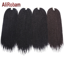 AliRobam Senegalese Twist Brown/Red Color Crochet Braids Synthetic Braiding Hair Extensions Woman Braided 22Roots/pack