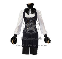 Victorian Tailored Suit Stripe Vest Breeches Halloween Steampunk Costume With Bowknot And Stand Collar Decorated Cool For Party