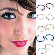 10pcs Medical Titanium Silver Hoop Nose Rings Clip On Ear Lip Navel Body Piercing Fake Percing Nez Jewelry Women Pircings Nariz