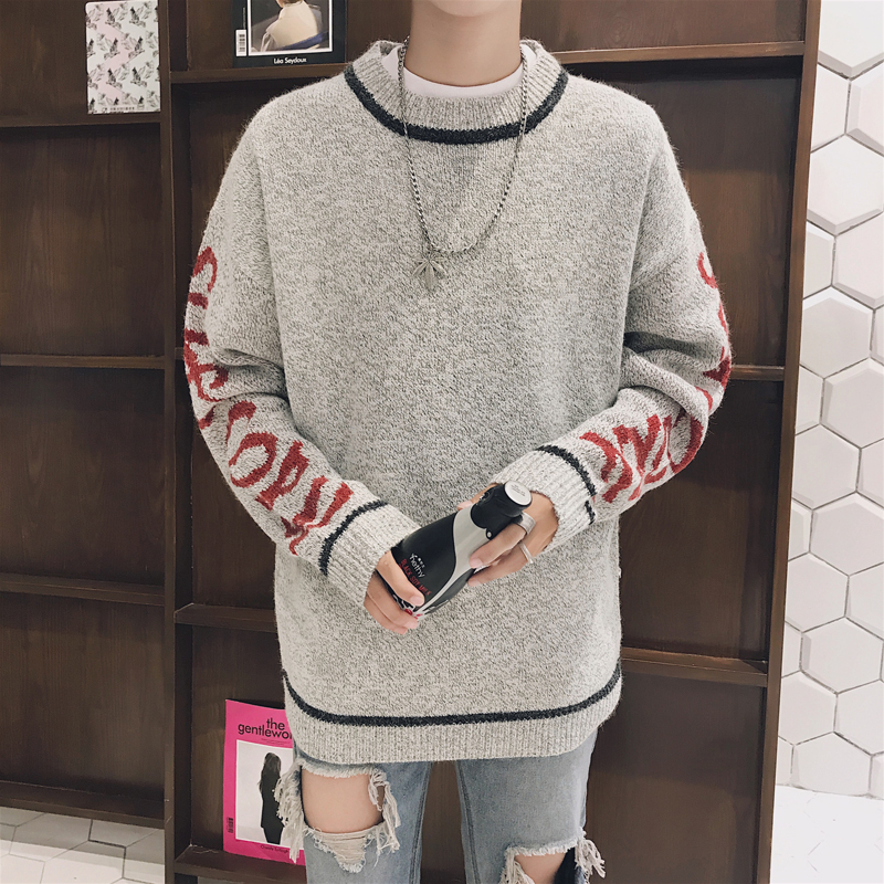 2018 Autumn And Winter New Male Pure Color Loose Collar Embroidery Long-sleeve Korean Version Of The Trend Joker Sweater