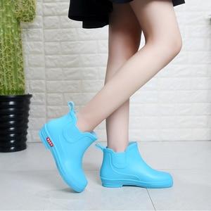 Image 3 - SWYIVY Rainboots أحذية امرأة الكاحل عالية 2018 الخريف الإناث Wellies أحذية ماء وأشار شقة لون الحلوى Rainboots أحذية نصف رقبة من المطاط