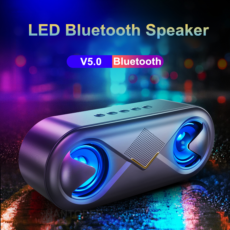 Wireless Bluetooth 5.0 Speaker LED Portable Boom Box Outdoor Bass Column Subwoofer Sound Box With Mic Support TF Card AUX USB