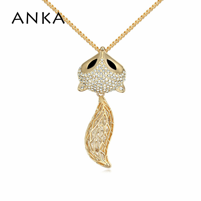 2018 Special Limited Classic Collares Colares Femininos Pendant Necklace Gold Colour anime fox Crystal Long Necklace #102770