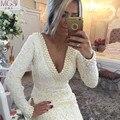 Corto atractivo Mini vestidos cóctel 2016 v-cuello mangas largas de encaje perlas abierto Backless marfil cualquier Color por encargo vestidos del partido