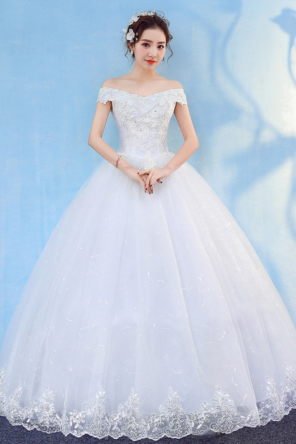 New Wedding Dress  Mrs Win Elegant Ball Gown Off The Shoulder Classic Embroidery Appliques Wedding Dresses