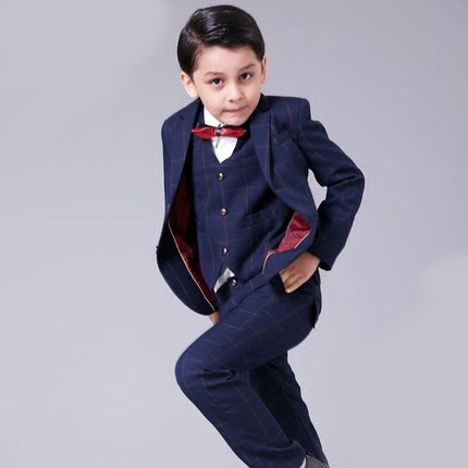 ФОТО 2016New fashion baby kids boys children blazers suits boys suits for weddings formal black lattice wedding suit flower boy dress