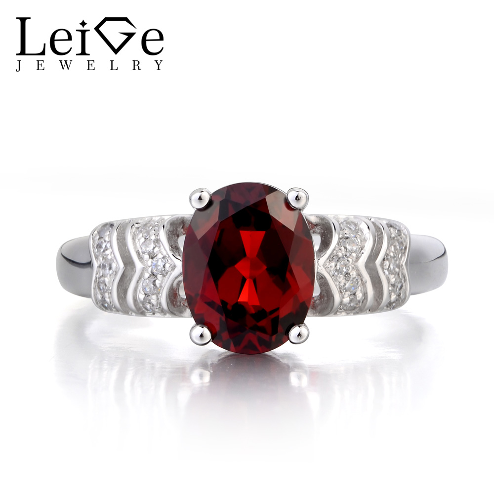 Leige Jewelry Real Natural Garnet Ring Anniversary Ring Oval Cut Red Gemstone January Birthstone Solid 925 Sterling Silver RingLeige Jewelry Real Natural Garnet Ring Anniversary Ring Oval Cut Red Gemstone January Birthstone Solid 925 Sterling Silver Ring