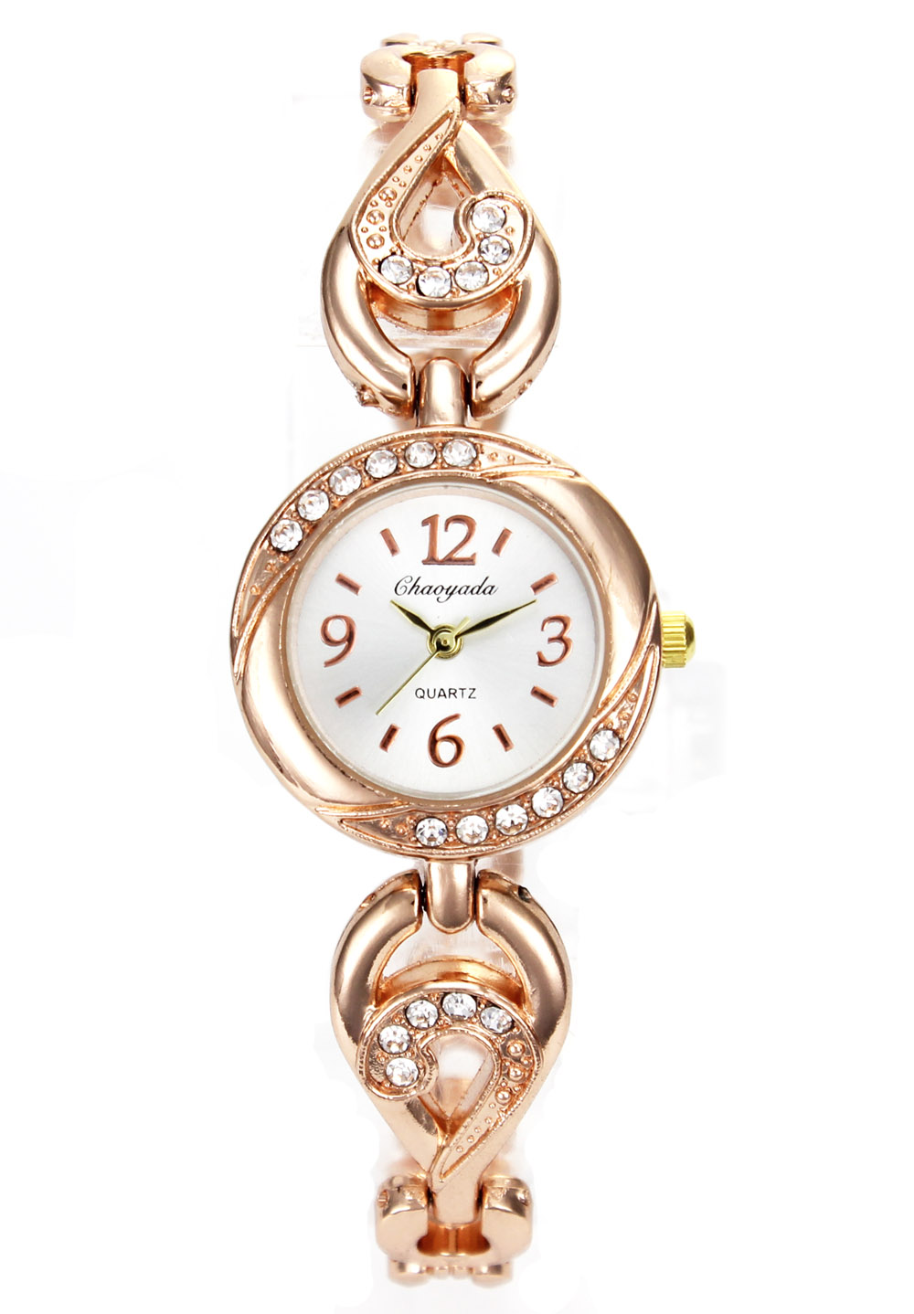 Women's Charm Rose Gold Female Bracelet Watch Fashion Ladies Crystal Chain Choker Necklace Wrist Watches fashion rose pattern wide bracelet w crystal golden