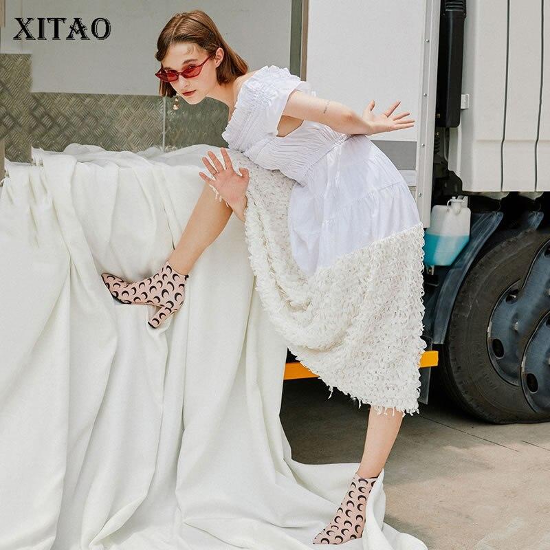 [XITAO] 2018 Korea New Arrival Autumn Fashion Women Slash Neck Patchwork Loose Dress Female Mid Calf Short Sleeve Dress GWY3007