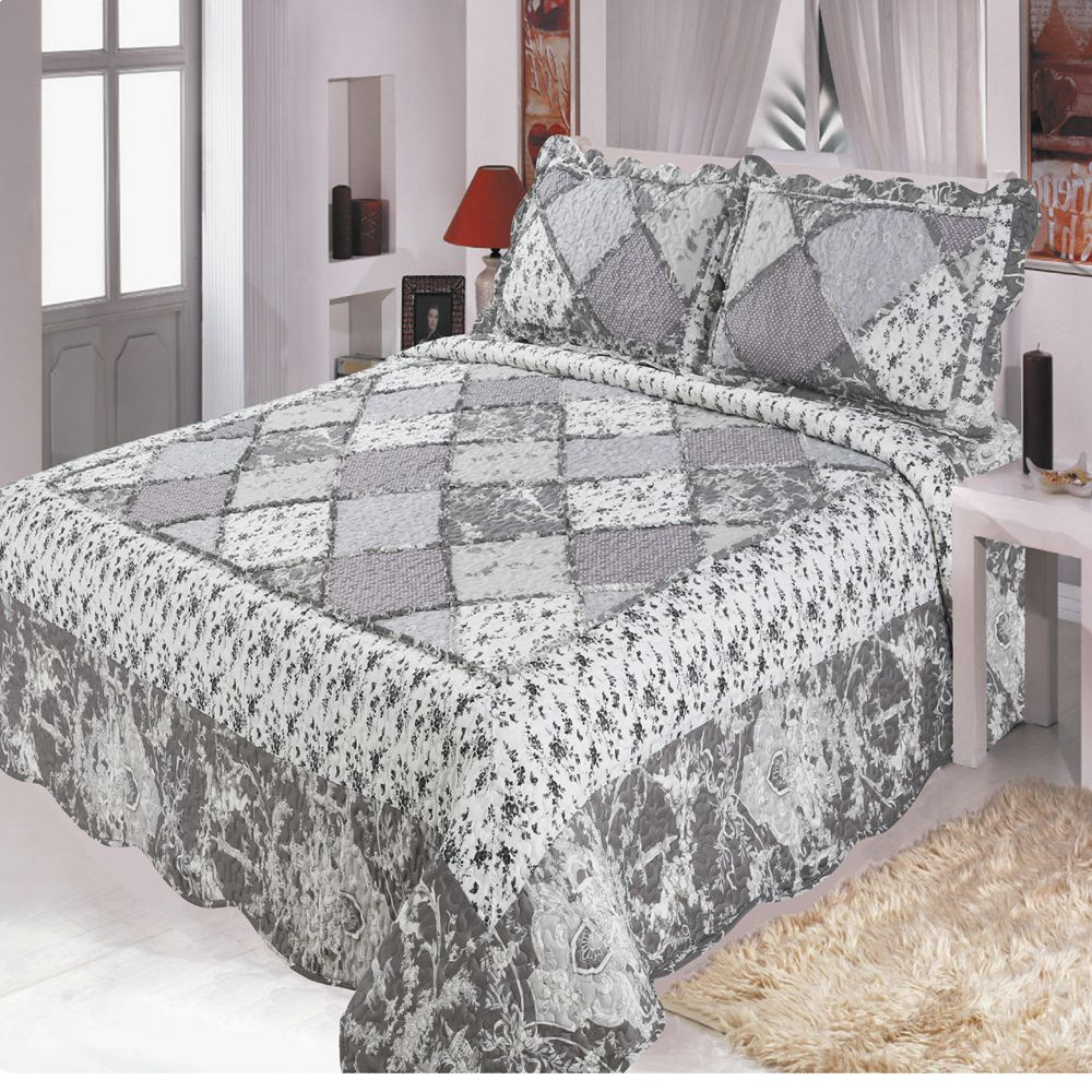 Comfortable high-grade cotton bedding quilted bed cover 220 * 240 double bed pastoral European printing bedspread