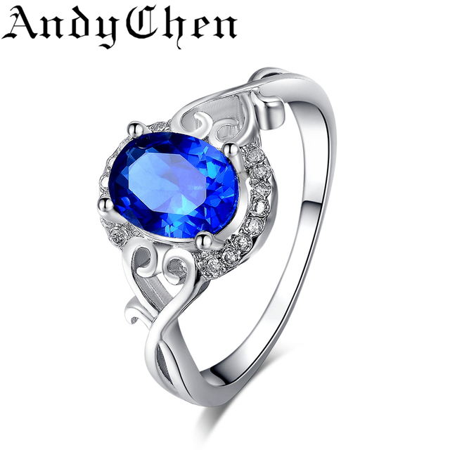 AndyChen Female Blue Crystal Jewelry Wedding Rings For Women Silver Color Engagement Bague Bijoux Femme Accessories ASR156