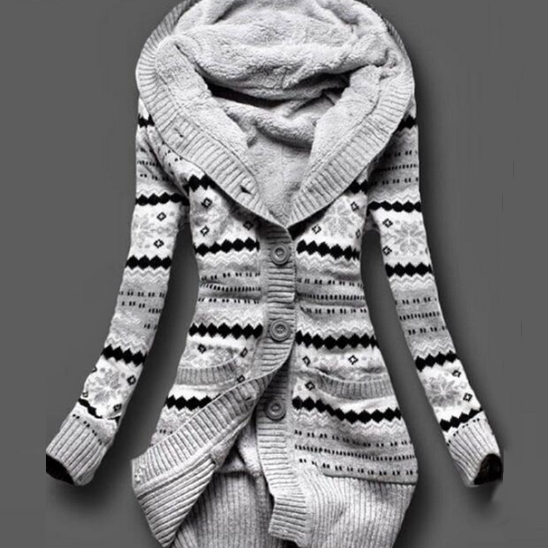 2017 Women Winter Thick Hooded Cardigans Sweaters Fleece Warm Solid Loose Knitted Coat Long Sleeve Knitwear