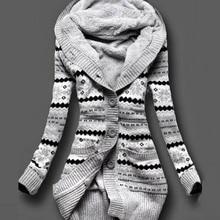 2017 Women Winter Thick Hooded Cardigans Sweaters Fleece Warm Solid Loose Knitted Coat Long Sleeve Knitwear Outerwear Cardigan