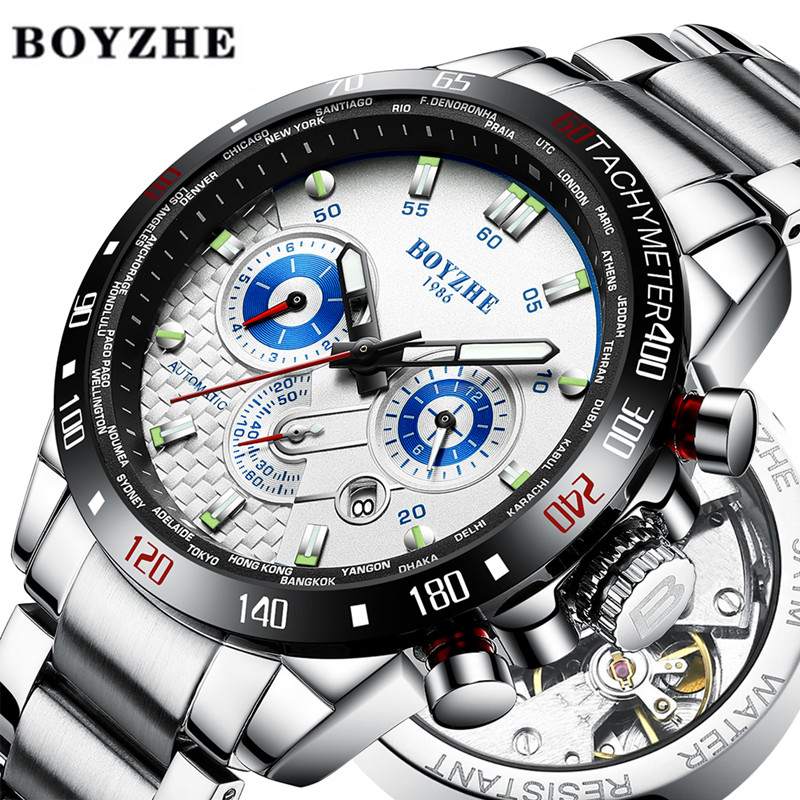 BOYZHE New Men Sport Automatic Mechanical Watch Waterproof Luxury Brand Stainless Steel Military Mens Watches Relogio