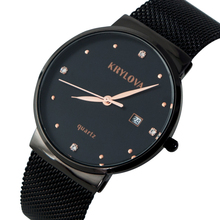 KRYLOVA Fashion Watch Men Waterproof Slim Mesh Strap Minimalist Wrist Watches For Quartz Sports Watch Clock Relogio Masculino