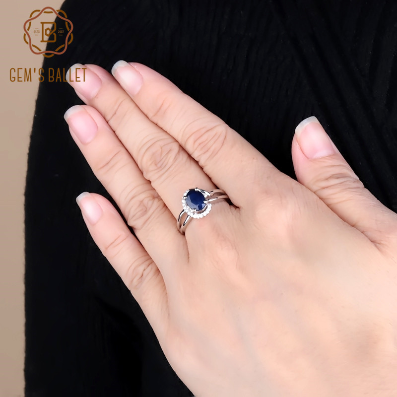 Gem's Ballet Natural Blue Sapphire Gemstone Ring Silver 925 Jewelry Wedding Band Rings For Women Fashion Fine Jewelry