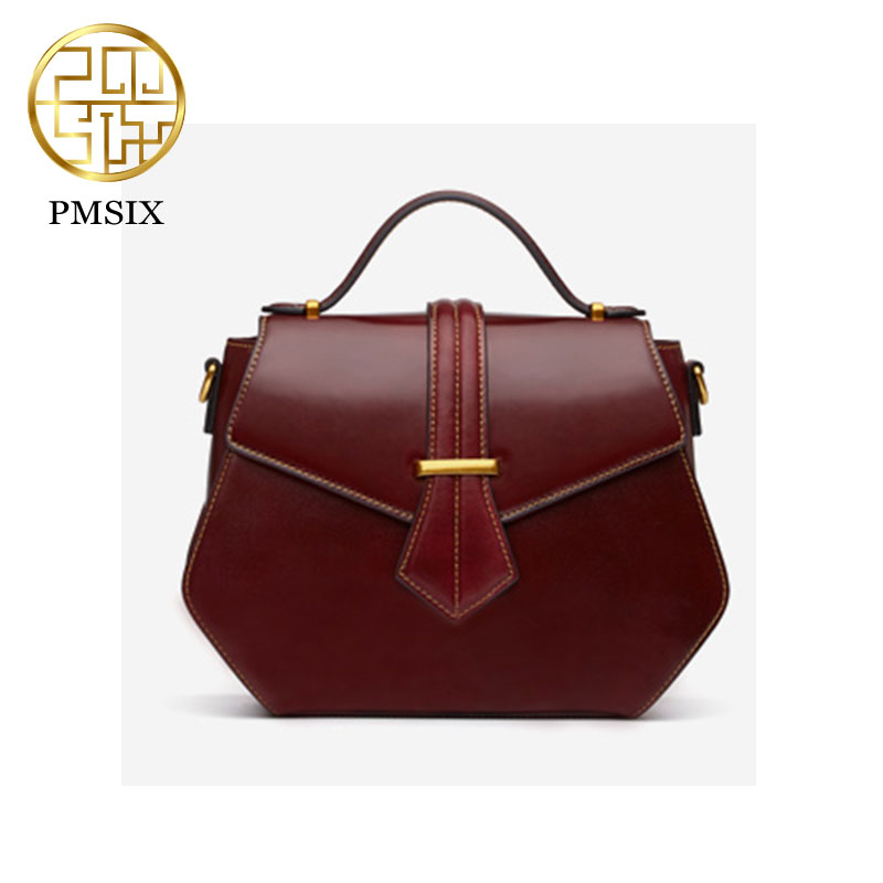 Pmsix Brand New Retro Women Handbag Fashion Casual Crossbody Bag Cow Leather Shoulder Small Bag P120134 wine red brand new handbag 2015 cheap women retro leather mini small adjustable shoulder crossbody bag letter packet black red blue brown
