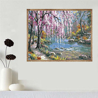 Natural Beauty Landscape View Of River Rocks Unframed Oil Paintings By Numbers DIY Picture For Dining