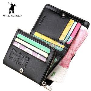 Image 4 - WilliamPOLO ブランドハイト本革男性財布つ折り財布ジップコインポケット財布ソフト牛革財布メンズカード財布