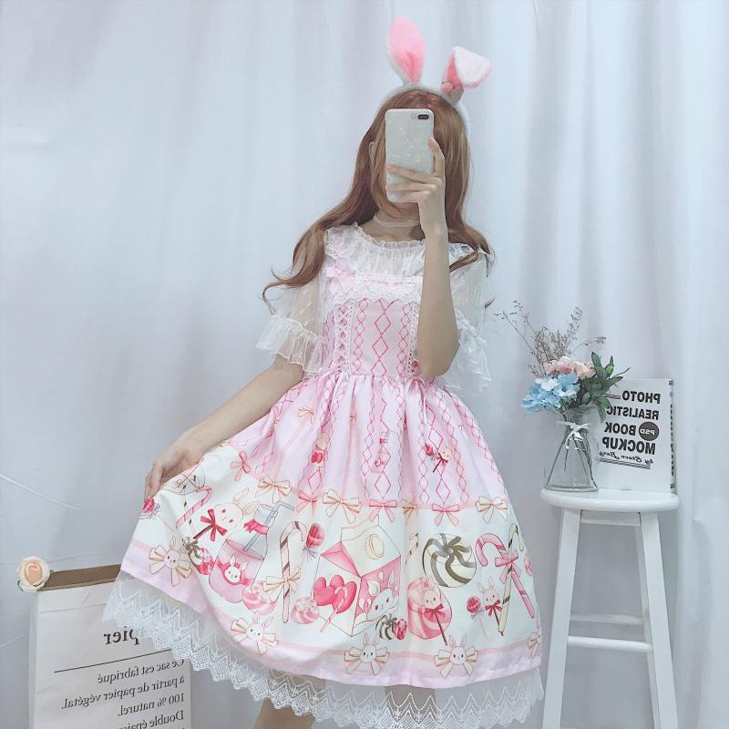 Japanese JSK Lolita Dress women summer dress sweet soft girl wind cute cartoon lolita suspender dress cute