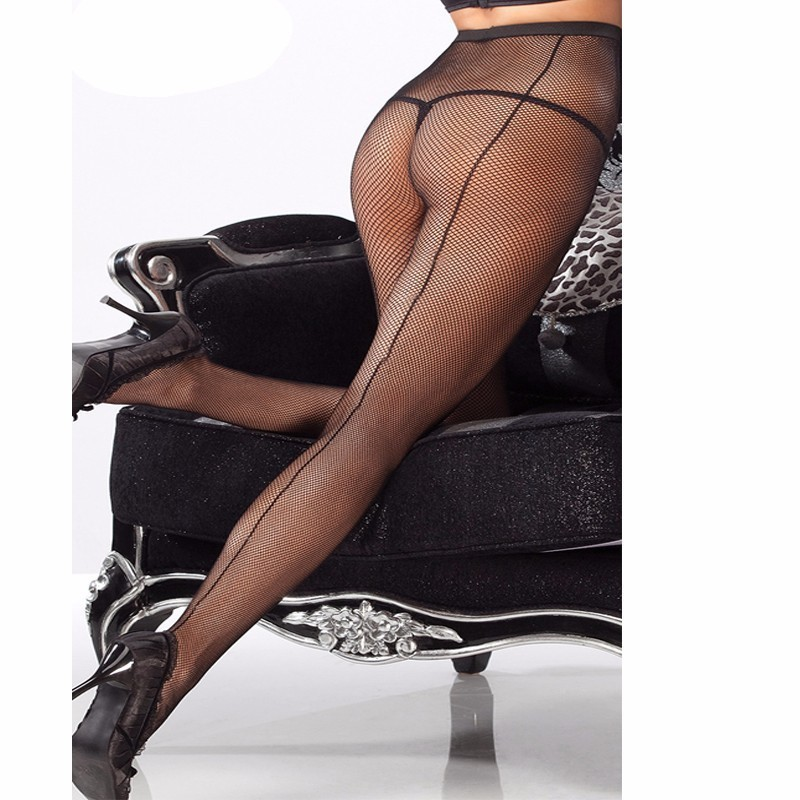 Women Tights Sexy Stockings Lace Female Pantyhose In A Grid Sheer Nylon Fishnet Stockings Back Seam Transparent Lingerie SW141