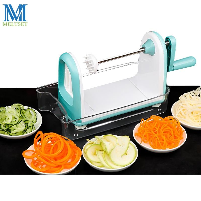 Meltset Manual Vegetable Spiral Cutter Mandoline Chopper Fruit Spiral Slicer Veggie Potato Carrot Slice Maker Kitchen Tools