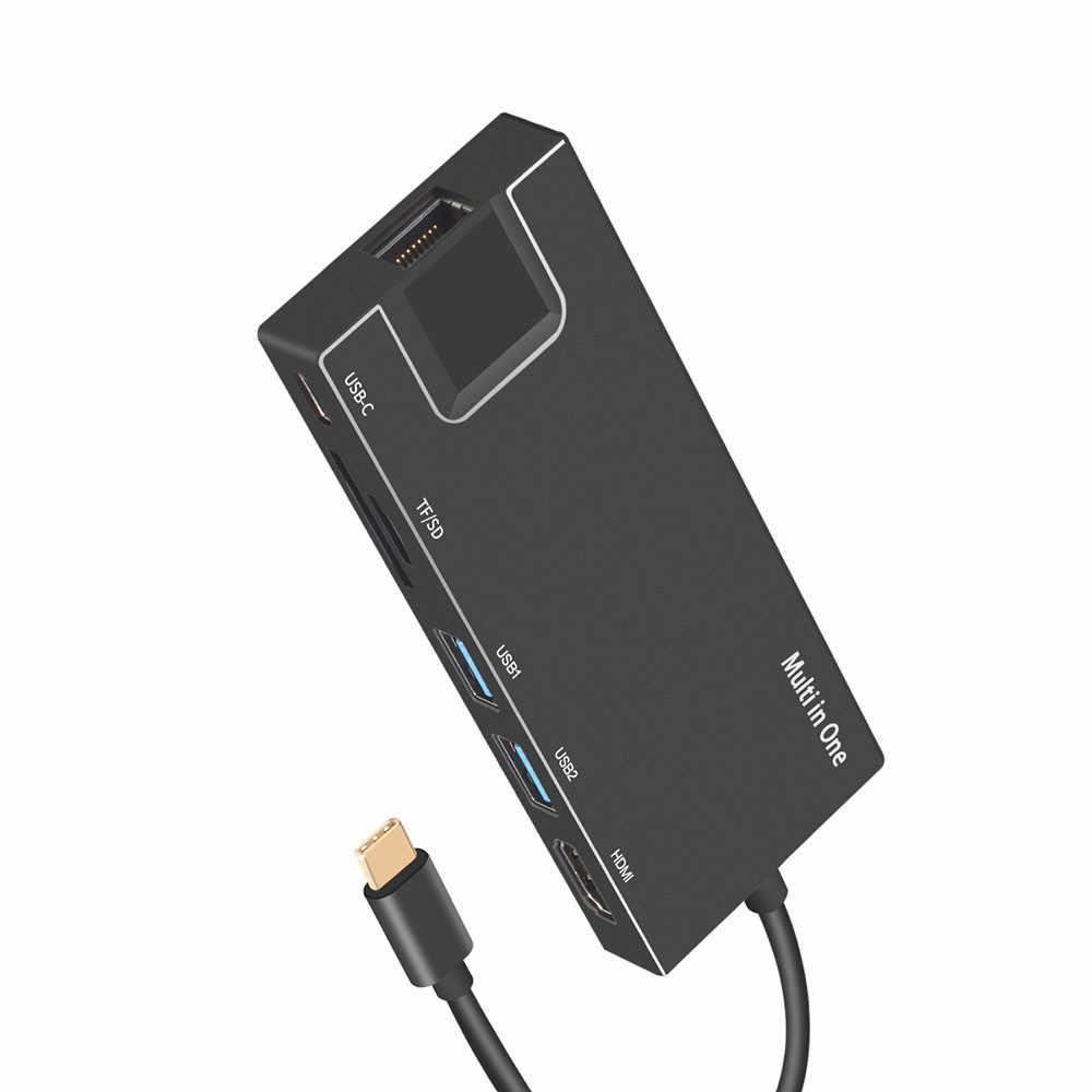 USB C إلى نوع C 8 في 1 USB 3.0 HDMI 4K RJ45 محول مايكرو SD TF قارئ بطاقات HUB نوع-c PD ميناء إيثرنت شبكة ويعرض 31 #