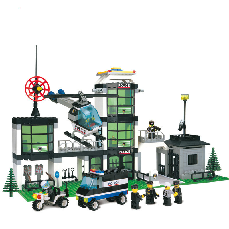 Enlighten City Military Police Weapons Command Centre Motorcycle Helicopter Building Blocks Brick Kids Toys Set Legoe Compatible