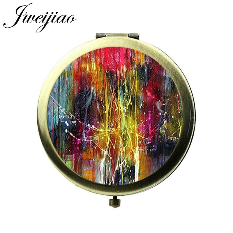 JWEIJIAO Famous Abstracts Oil Paintings Collection Makeup Mirrors Women Glass Cabochon Round Compact Vanity Pocket mirrors Gift
